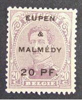 Изображение Бельгия 1920 г. Mi# 4 • 20 пф. на 20 центах • Бельгийская оккупация Германии. Ойпен и Мальмеди • Mint NG VF