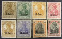 "Изображение Германия 1916 г. Mi# 1-8 • Этаппенгебит ""Вэст"". надпечатка в центах. • Mint NG VF ( кат.- €28,1 )"