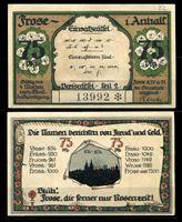 Изображение Германия •  Фрозе в Анхальте 1921 г. • 75 пфеннигов • История названия города • локальный выпуск • UNC пресс