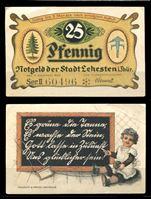 Изображение Германия •  Лехестен 1920 г. • 25 пфеннигов • первоклассница у доски • локальный выпуск • AU+