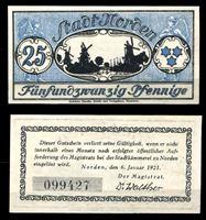 Изображение Германия •  Норден 1921 г. • 25 пфеннигов • мельницы вдоль реки • локальный выпуск • UNC пресс