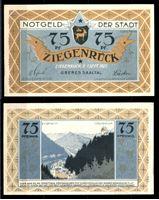 Изображение Германия •  Зигенрук 1921 г. • 75 пфеннигов • вид на город с горы • локальный выпуск • UNC пресс