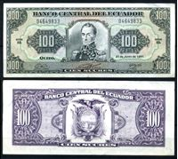 Изображение Эквадор 1991 г. P# 123A • 10 сукре • Симон Боливар • регулярный выпуск • XF+
