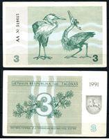 Image de Литва 1991 г. P# 33b • 3 талона • Цапли (с текстом о преследовании за подделку) • регулярный выпуск • AU+