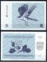 Изображение Литва 1991 г. P# 34b • 5 талонов • ястреб (с текстом о преследовании за подделку) • регулярный выпуск • UNC пресс