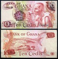 Изображение Гана 1978 г. P# 16f • 10 цеди • старик с трубкой • регулярный выпуск • UNC пресс