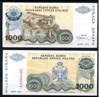 Изображение Хорватия • Сербская Краина 1994 г. P# R30 • 1000 динаров • крепость Книна • регулярный выпуск • UNC пресс
