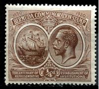 Изображение Бермуды 1920-1921 гг. Gb# 59 • 1/4d. • 300-летие Губернаторства • MLH OG XF ( кат.- £4 )