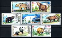 Picture of Монголия 1990 г. SC# 1769-75 • медведи и панды • Used(ФГ) XF • полн. серия
