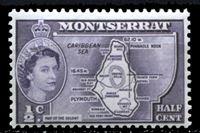 "Image de Монтсеррат 1953-62 гг. Gb# 136b • Елизавета II основной выпуск • 1/2c. • карта острова (тип II - ""colony"") • MNH OG XF"