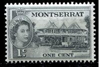 Image de Монтсеррат 1953-62 гг. Gb# 137 • Елизавета II основной выпуск • 1c. • дом правительства • MNH OG XF