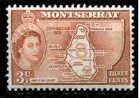 "Image de Монтсеррат 1953-62 гг. Gb# 139a • Елизавета II основной выпуск • 3c. • карта острова (тип II - ""colony"") • MNH OG XF"