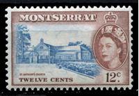 Image de Монтсеррат 1953-62 гг. Gb# 144 • Елизавета II основной выпуск • 12c. • Церковь св. Антония • MNH OG XF