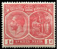 Image de Сент-Китс и Невис 1921-29 гг. Gb# 38 • Георг V основной выпуск • 1d. • Колумб и королева Изабелла • MNH OG XF