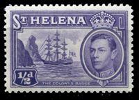 Image de Святой Елены о-в 1938-44 гг. Gb# 131 • Георг VI основной выпуск • 1/2d. • Фрегат у берега острова • MNH OG XF