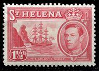 Image de Святой Елены о-в 1938-44 гг. Gb# 133 • Георг VI основной выпуск • 1 1/2d. • Фрегат у берега острова • MLH OG XF