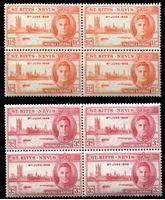 Image de Сент-Китс и Невис 1946 г. Gb# 78-79 • выпуск Победы • MNH OG XF • кв. блоки