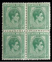 Image de Сент-Китс и Невис 1938-50 гг. Gb# 68a • Георг VI основной выпуск • 1/2d. • MNH OG XF • кв.блок