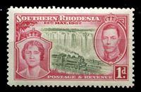 Image de Южная Родезия 1937 г. Gb# 36 • Коронация Георга VI • 1d. • паровоз на фоне водопада Виктория • MNH OG XF