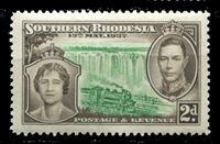 Image de Южная Родезия 1937 г. Gb# 37 • Коронация Георга VI • 2d. • паровоз на фоне водопада Виктория • MNH OG XF