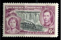 Image de Южная Родезия 1937 г. Gb# 39 • Коронация Георга VI • 6d. • паровоз на фоне водопада Виктория • MLH OG XF