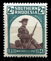 Image de Южная Родезия 1943 г. Gb# 61 • 2d. • 50-летие оккупации Матабелеленда • MNH OG XF
