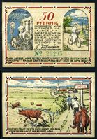 Изображение Германия •  Лютцхофт 1920 г. • 50 пфеннигов • коровы на дороге в город • локальный выпуск • UNC пресс