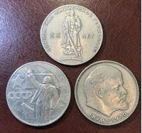Bild von СССР 1965 - 1970 гг. • 1 рубль • 3 юбилейные монеты • памятный выпуск • VF-XF