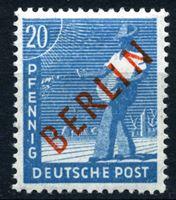 """Изображение Западный Берлин 1949 г. Mi# 26 • 20 pf. • надпечатка(красн.) """"Berlin"""" • MNH OG XF ( кат.- €4,5 )"""