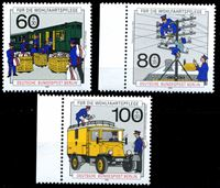 Изображение Западный Берлин 1990 г. Mi# 876-8 • История развития почты и телекоммуникаций • MNH OG Люкс • полн. серия ( кат.- €10 )