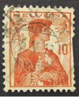 "Image de Швейцария 1909 г. Mi# 114 • 10 с. • Аллегория ""Швейцария"" • Used Fair"