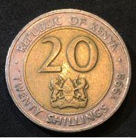 Изображение Кения 1998 г. • KM# 32 • 20 шиллингов • герб Кении • президент Мои Даниель Арап • регулярный выпуск • VF