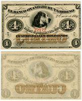 Изображение Аргентина 1869 г. P# S1781 • 4 реала • Banco Oxandaburu y Garbino • AU-UNC пресс
