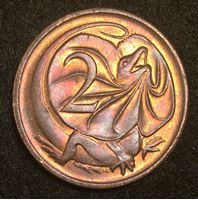 Image de Австралия 1978 г. KM# 63 • 2 цента • Плащеносная ящерица • регулярный выпуск • MS BU ( кат.- $3,00 )