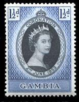 Image de Гамбия 1953 г. Gb# 170 • Коронация Елизаветы II • 1 1/2d. • MLH OG XF