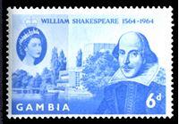 Image de Гамбия 1964 г. Gb# 210 • 400 лет со дня рождения Шекспира • 6d. • MNH OG XF