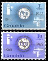 Image de Гамбия 1965 г. Gb# 228-9 • 100-летие ВТС(ITU) • MLH OG XF • полн. серия