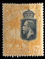 Изображение Гамбия 1922-9 гг. Gb# 127 • 2 1/2d. • Георг V основной выпуск • слон под пальмой • MH OG VF