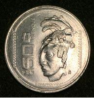 Изображение Мексика 1983 г. KM# 492 • 50 сентаво • голова индейца • регулярный выпуск • MS BU