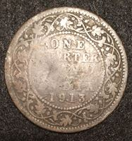 Изображение Британская Индия 1913 г. KM# 512 • 1/4 анны • Георг V • регулярный выпуск • VG-