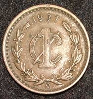 Изображение Мексика 1937 г. M KM# 415 • 1 сентаво • регулярный выпуск • XF ( кат.- $5,00 )