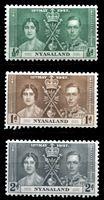 Image de Ньясаленд 1937 г. Gb# 127-9 • Коронация Георга VI • MLH OG XF • полн. серия