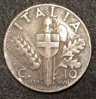 Изображение Италия 1939 г. KM# 74 • 10 чентезимо • Виктор Эммануил III • регулярный выпуск • XF-