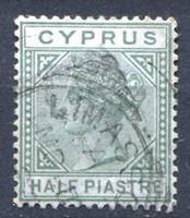 Изображение Кипр 1892-94 гг. Gb# 31 • Королева Виктория • 1/2pi. • стандарт • Used VF ( кат.- £2 )