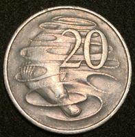 Image de Австралия 1967 г. KM# 66 • 20 центов • Елизавета II • Утконос • регулярный выпуск • XF+