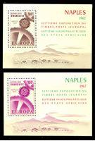 Изображение Руанда 1967 г. SC# 208-9 • 100 fr.(2) • Филателистическая выставка Европа-67 (Неаполь) • MNH OG XF • блоки ( кат.- $10 )