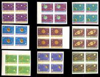 Изображение Албания 1964 г. • SC# 777-85A • 1 - 9 l. • Планеты солнечной системы (б.з.) • MNH OG Люкс • полн. серия • кв. блоки ( кат.- $100 )
