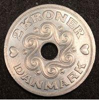 Изображение Дания 1992 г. • KM# 874.1 • 2 кроны • первый год чеканки типа • регулярный выпуск • MS BU люкс!