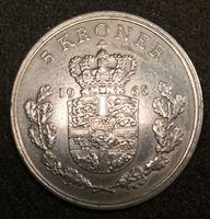 Изображение Дания 1940 г. • KM# 853.1 • 5 крон • Фредерик IX • регулярный выпуск • MS BU ( кат.- $65,00 )
