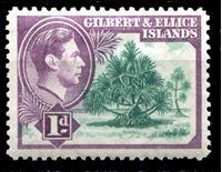 Bild von Гилберта и Эллис о-ва 1939-55 гг. Gb# 44 • 1d. • Георг VI основной выпуск • мангровая ель • MLH OG XF